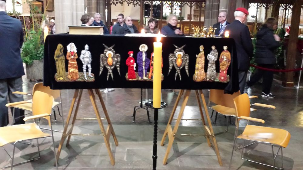 The coffin of King Richard III covered with the black pall lying in state in Leicester Cathedral.